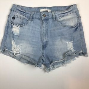kanCan High Waisted Distressed Shorts
